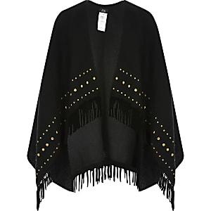 Zwarte cape met studs en franje voor meisjes