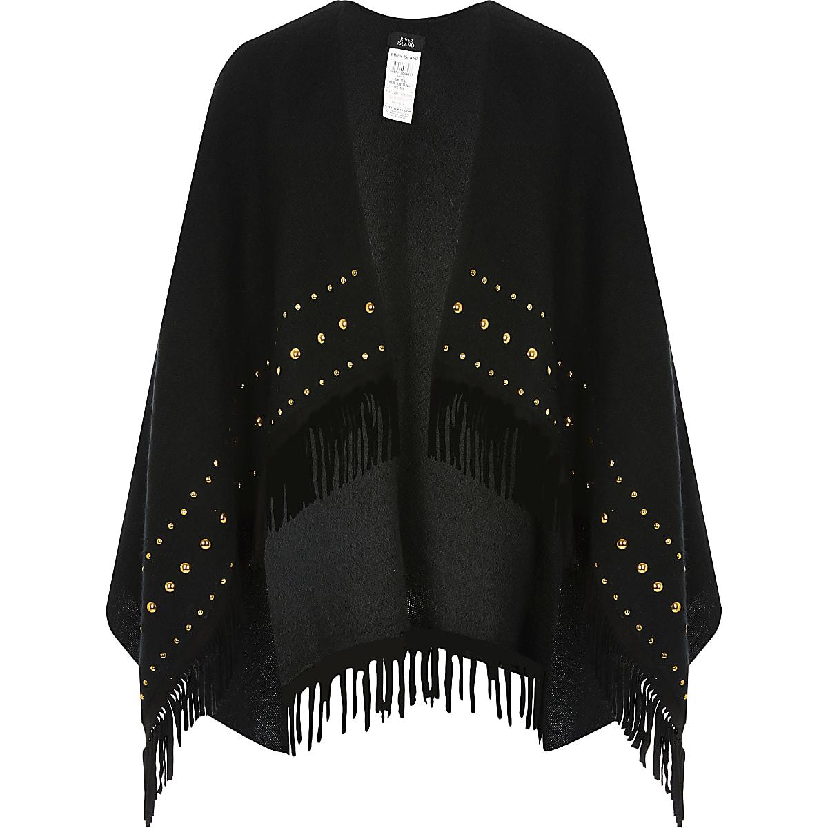 Girls black studded fringe cape