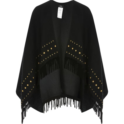 Girls black studded fringe cape