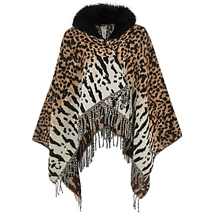 Girls cream animal print faux fur trim cape