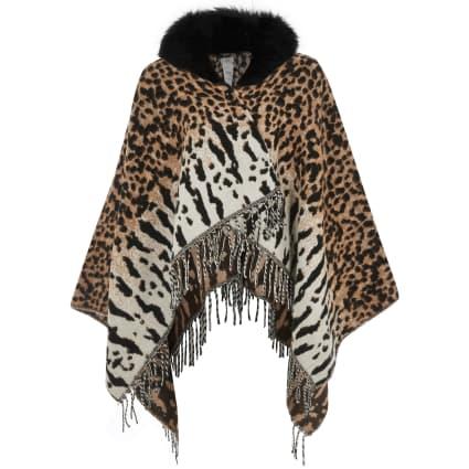 Girls cream animal print faux fur trim cape