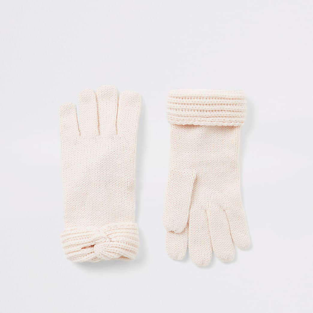 Girls pink twist knitted gloves