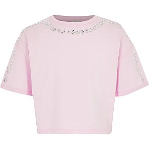 Pinkes, kurzes T-Shirt mit Strassverzierung für Mädchen