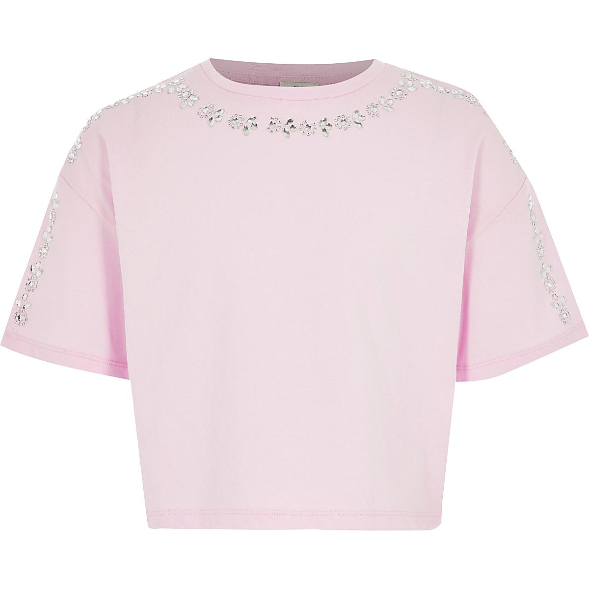 Girls pink embellished cropped T-shirt