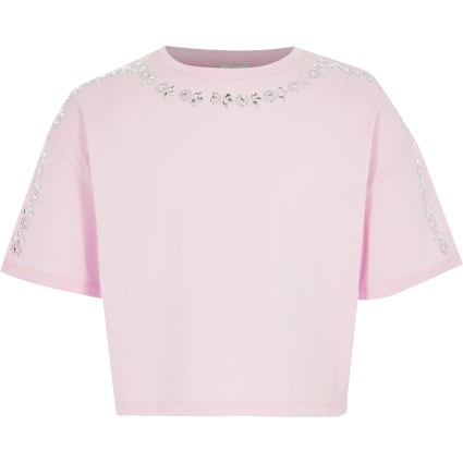 Girls pink embellished cropped T-shirt