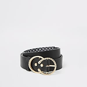 Girls black double textured ring belt