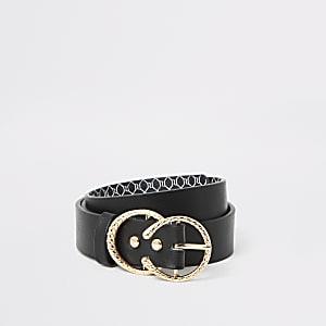 Zwarte riem met dubbele ronde gesp met textuur voor meisjes