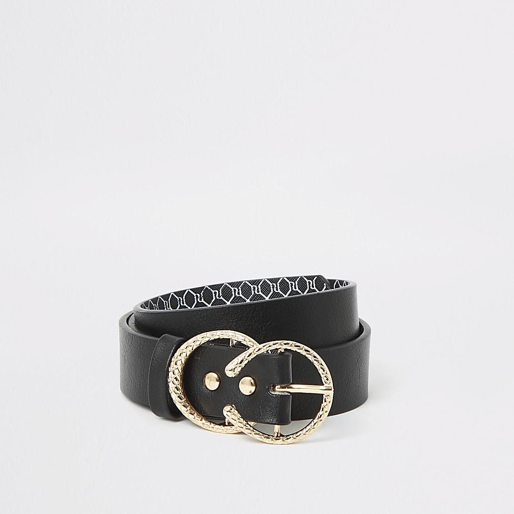 Girls black double textured ring belt