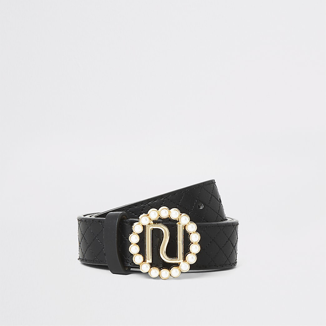 Girls black quilted pearl buckle belt