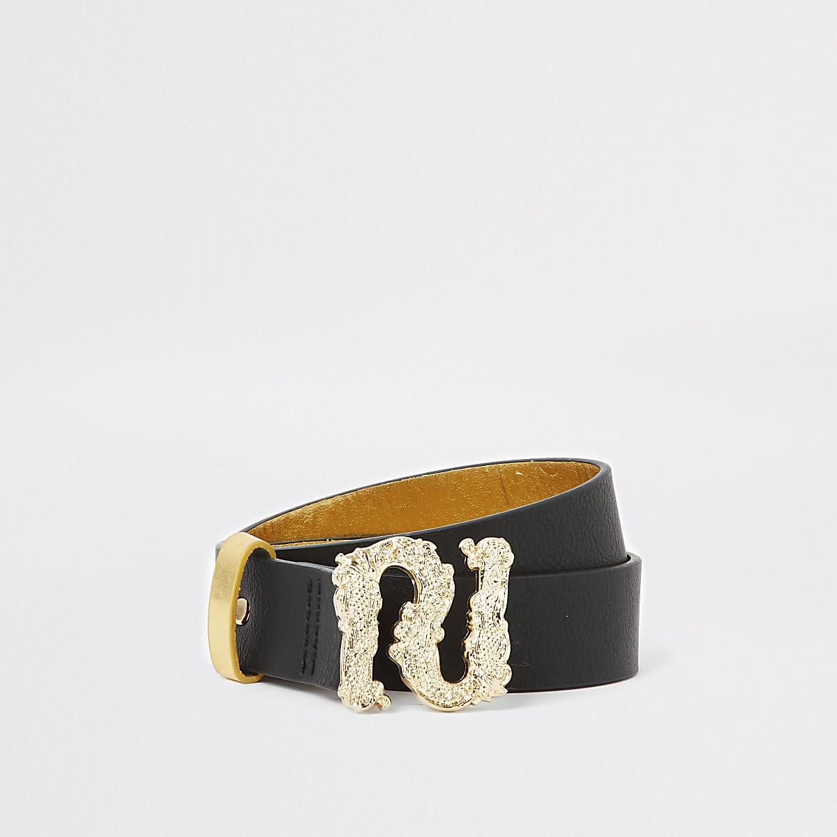 Girls gold baroque RI buckle belt