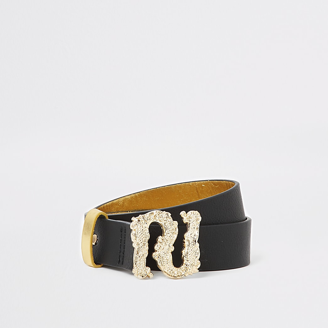 Girls gold baroque RI buckle belt
