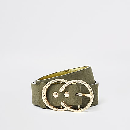 Girls khaki textured double ring belt