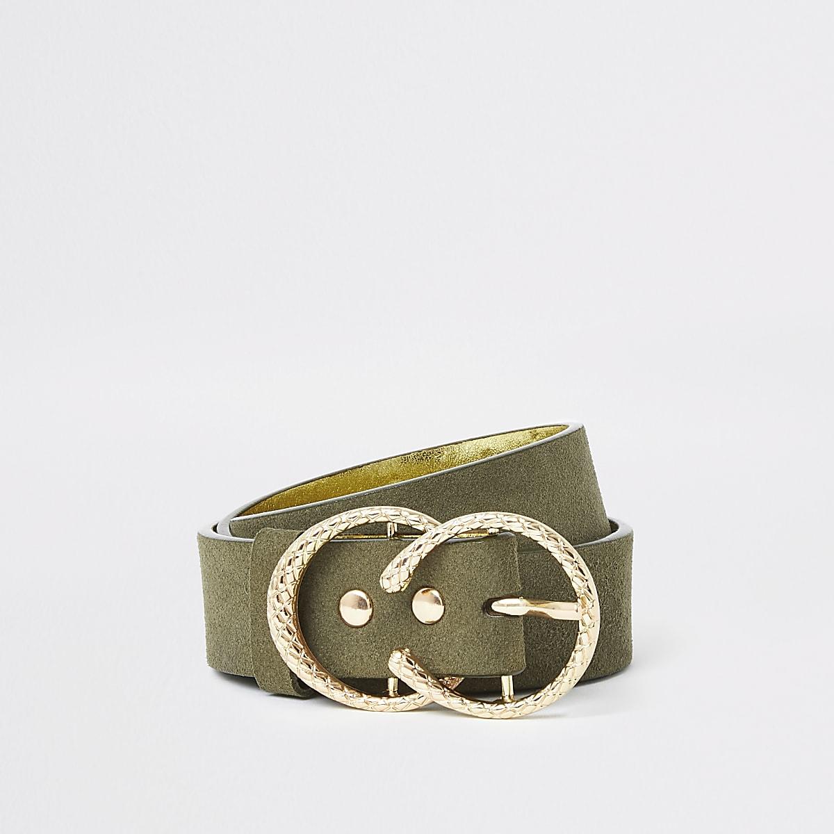 Kaki riem met twee ringen en textuur voor meisjes
