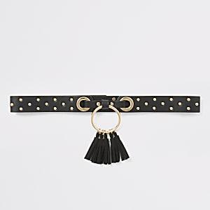 Zwarte riem met studs, cirkel en kwastjes voor meisjes