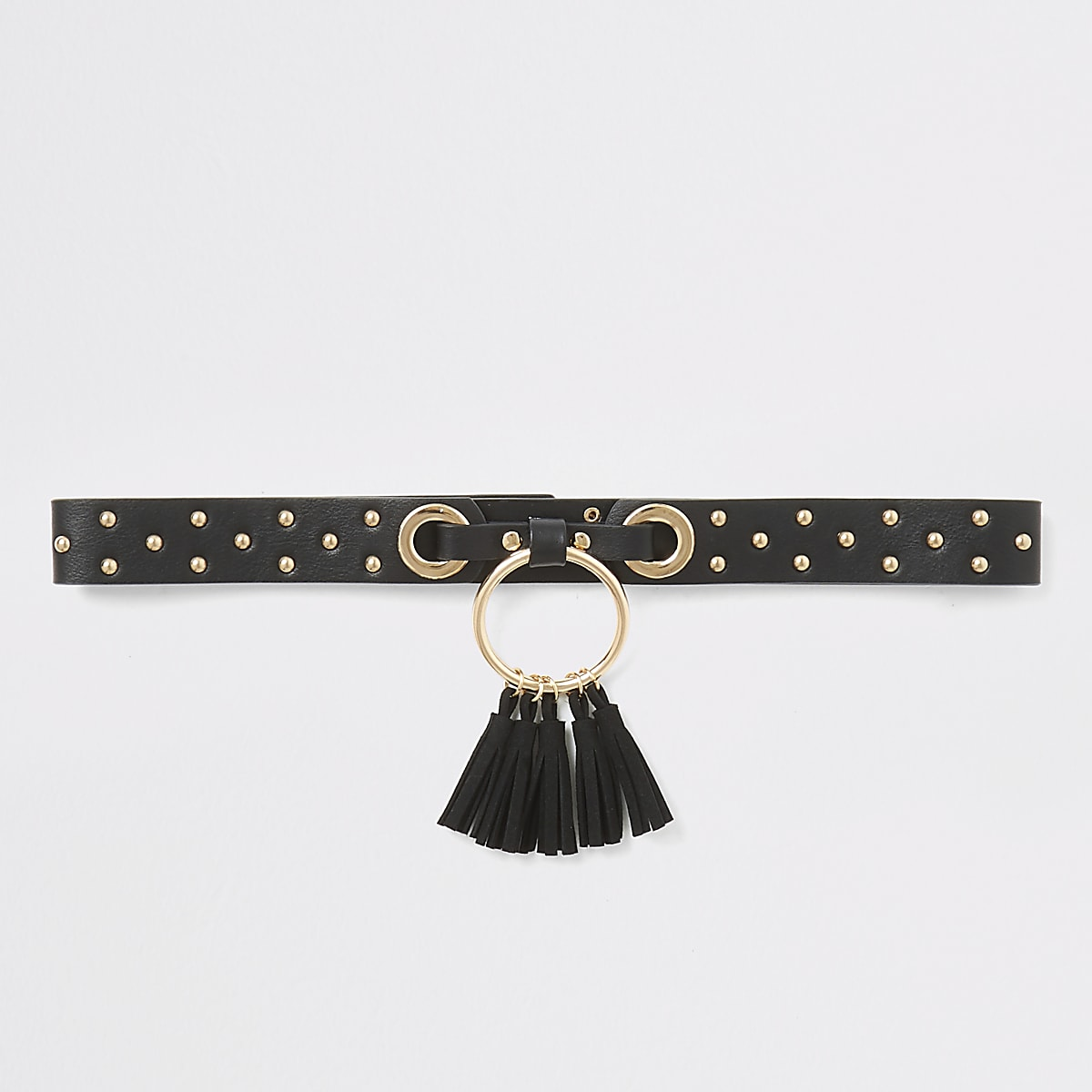 Girls black studded tassel circle belt