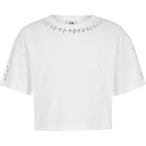 Wit verfraaid croppedT-shirt voor meisjes