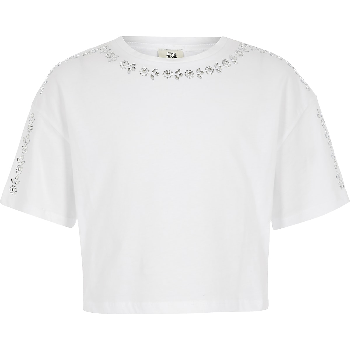 Girls white embellished cropped T-shirt