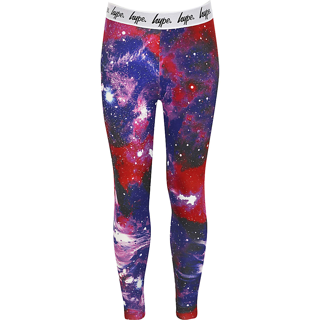 Girls Hype pink printed leggings