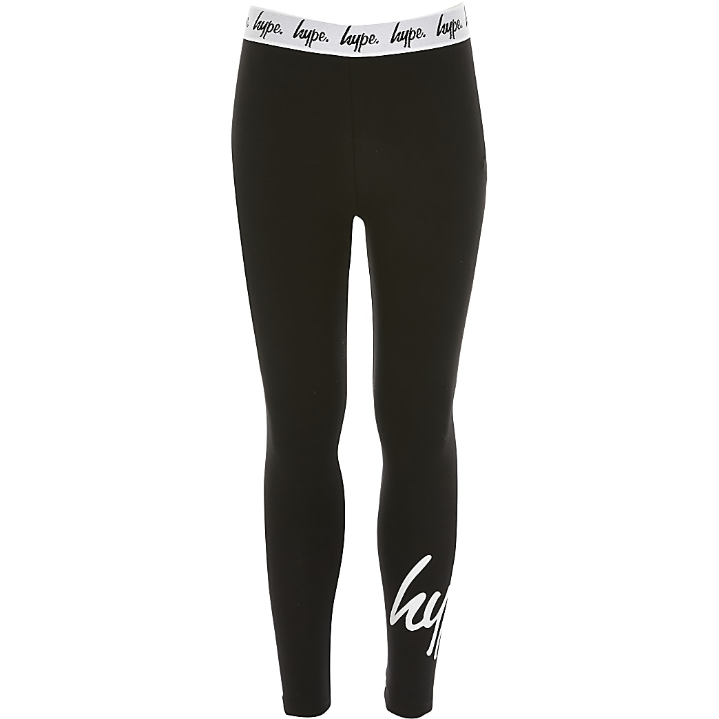 Girls Hype black printed leggings