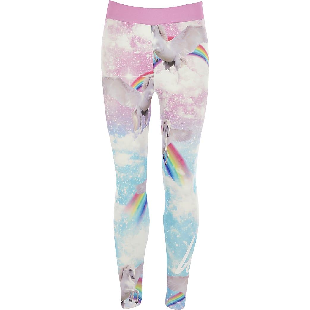 Girls Hype pink unicorn printed leggings