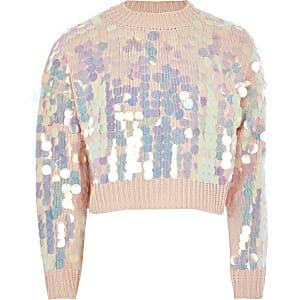Roze ruimvallende cropped trui met lovertjes voor meisjes