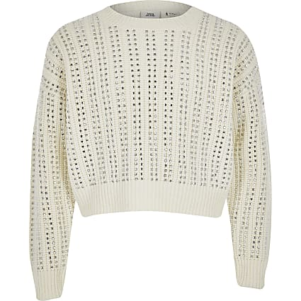 Girls cream diamante long sleeve crop jumper