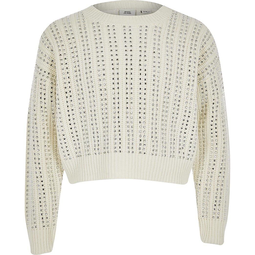 Girls cream diamante long sleeve crop jumper