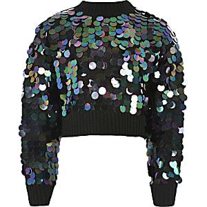 Schwarzer, kurzer Mädchen-Pullover mit Pailletten und Beuteltasche
