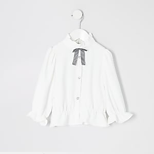 Tenue avec chemise blancheavec nœud au col Mini fille