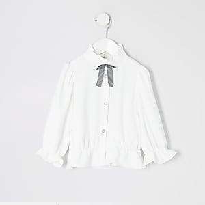 Mini - Witte outfit met shirt met strik kraag voor meisjes