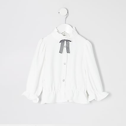 Mini girls white bow collar shirt