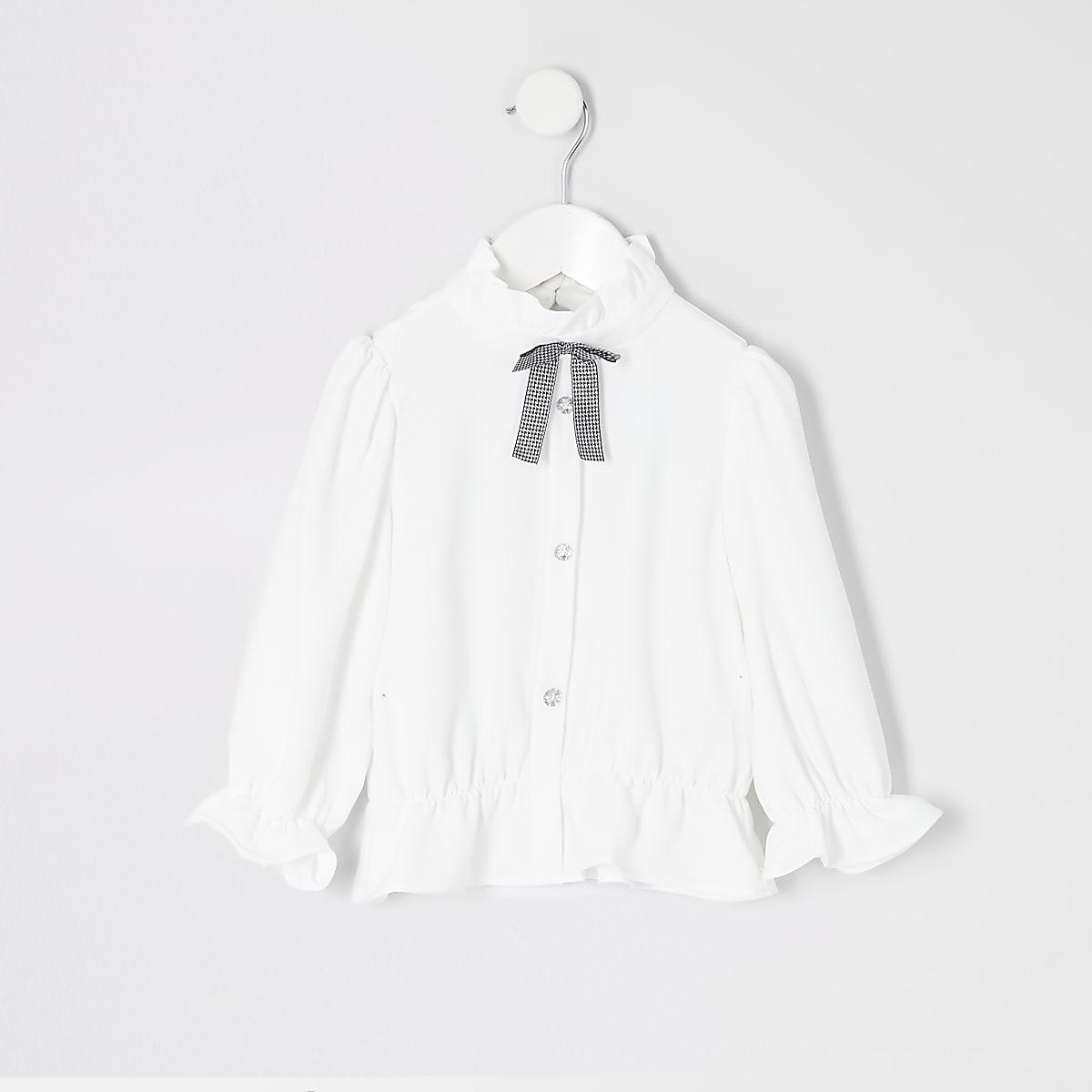 Mini girls white bow collar shirt