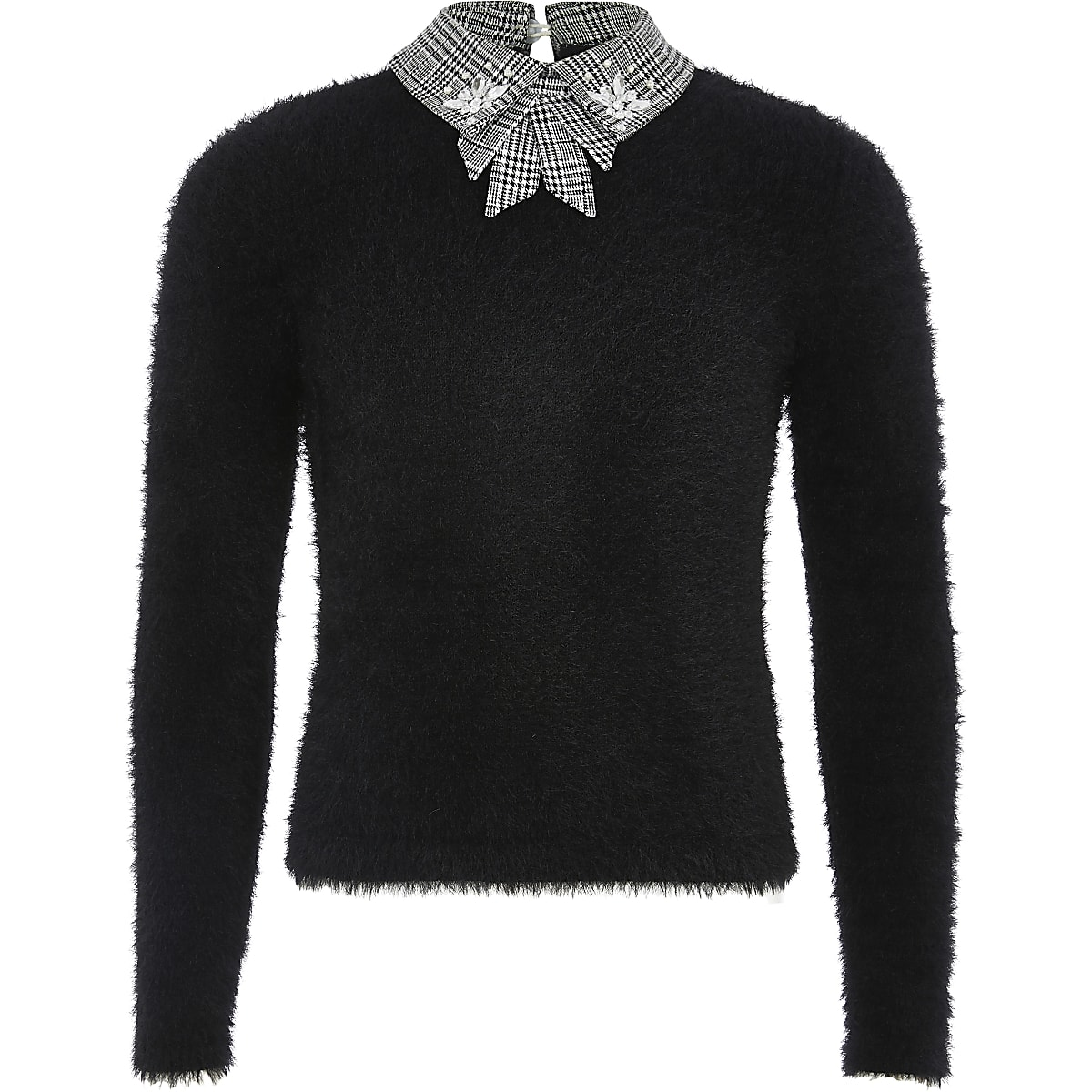 Girls black check bow collar knitted jumper