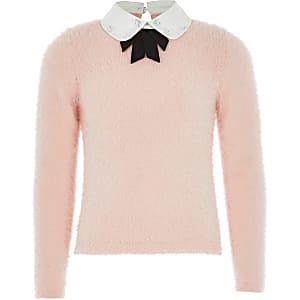 Roze gebreide trui met verfraaide strikkraag voor meisjes
