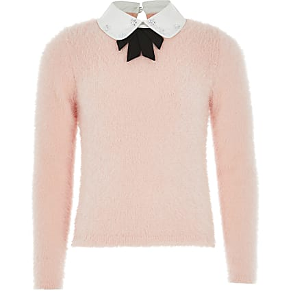 Girls pink embellished bow knitted jumper
