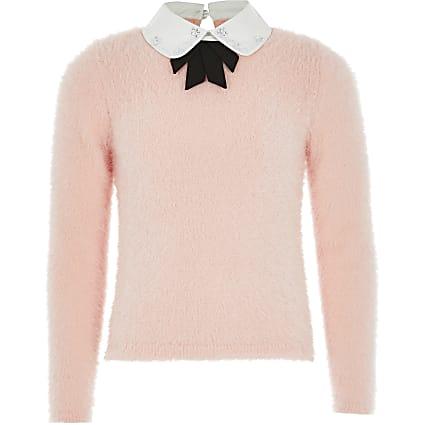 Girls pink embellished bow knitted jumper
