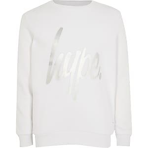 Hype – Sweat blanc imprimé  métallisé pour fille