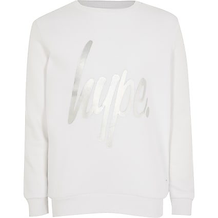 Girls Hype white foil print sweatshirt