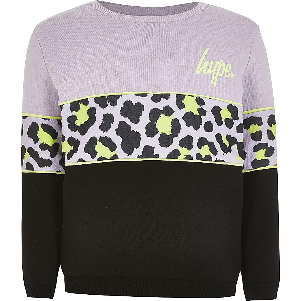 Hype - Paarse sweater met kleurvlakken voor meisjes