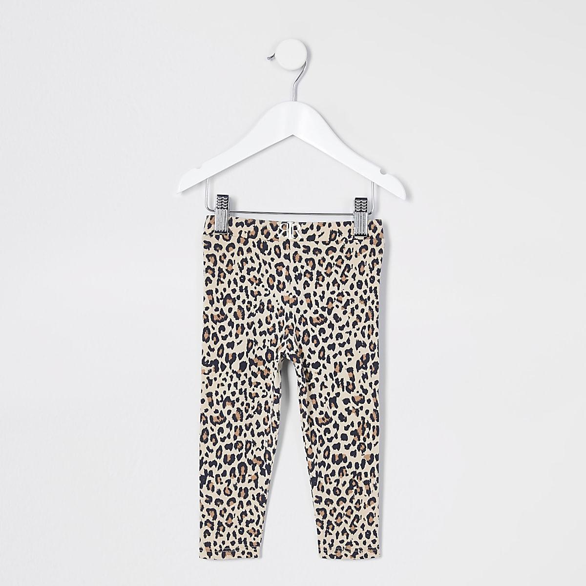 Mini girls brown leopard print leggings