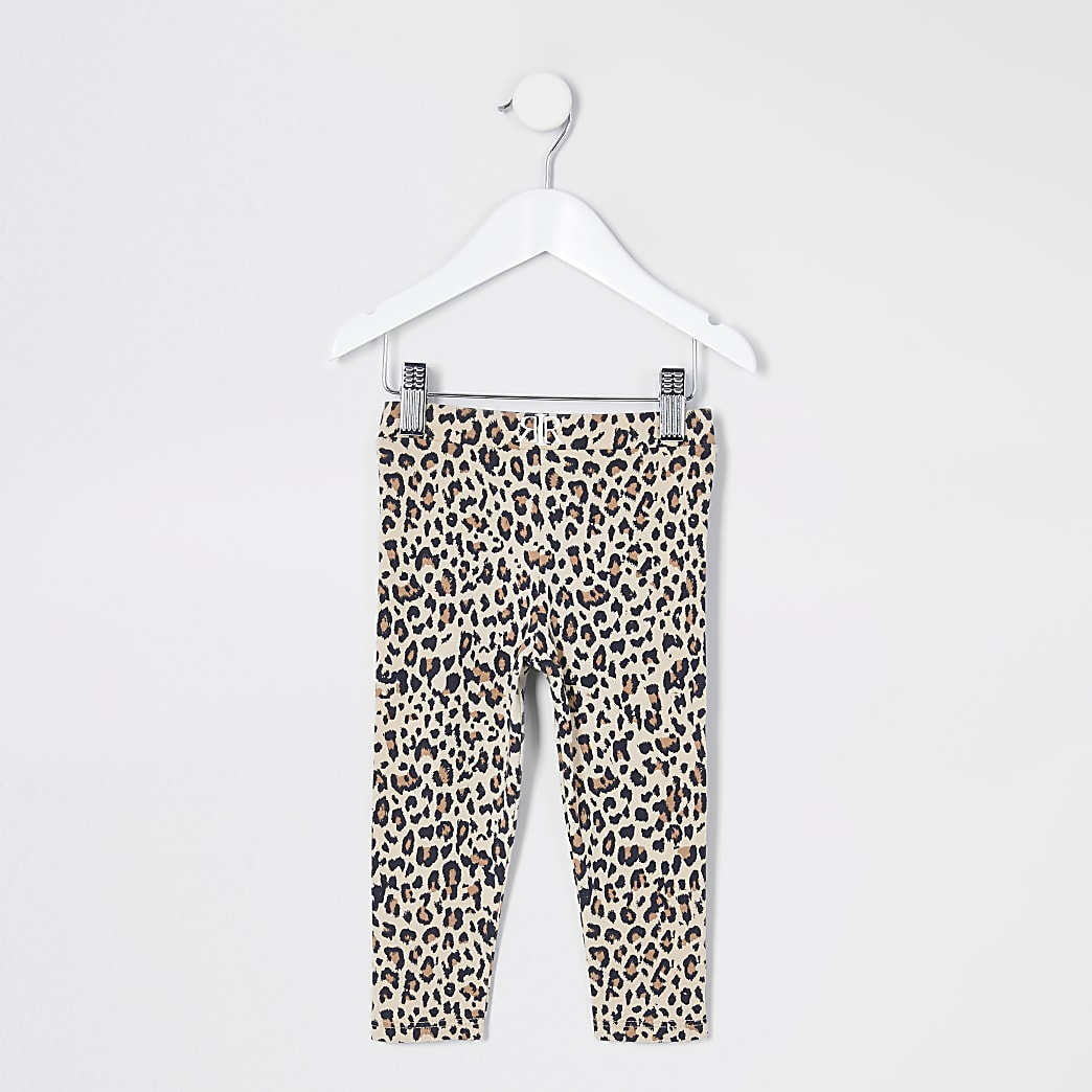 Mini girls brown leopard print leggings