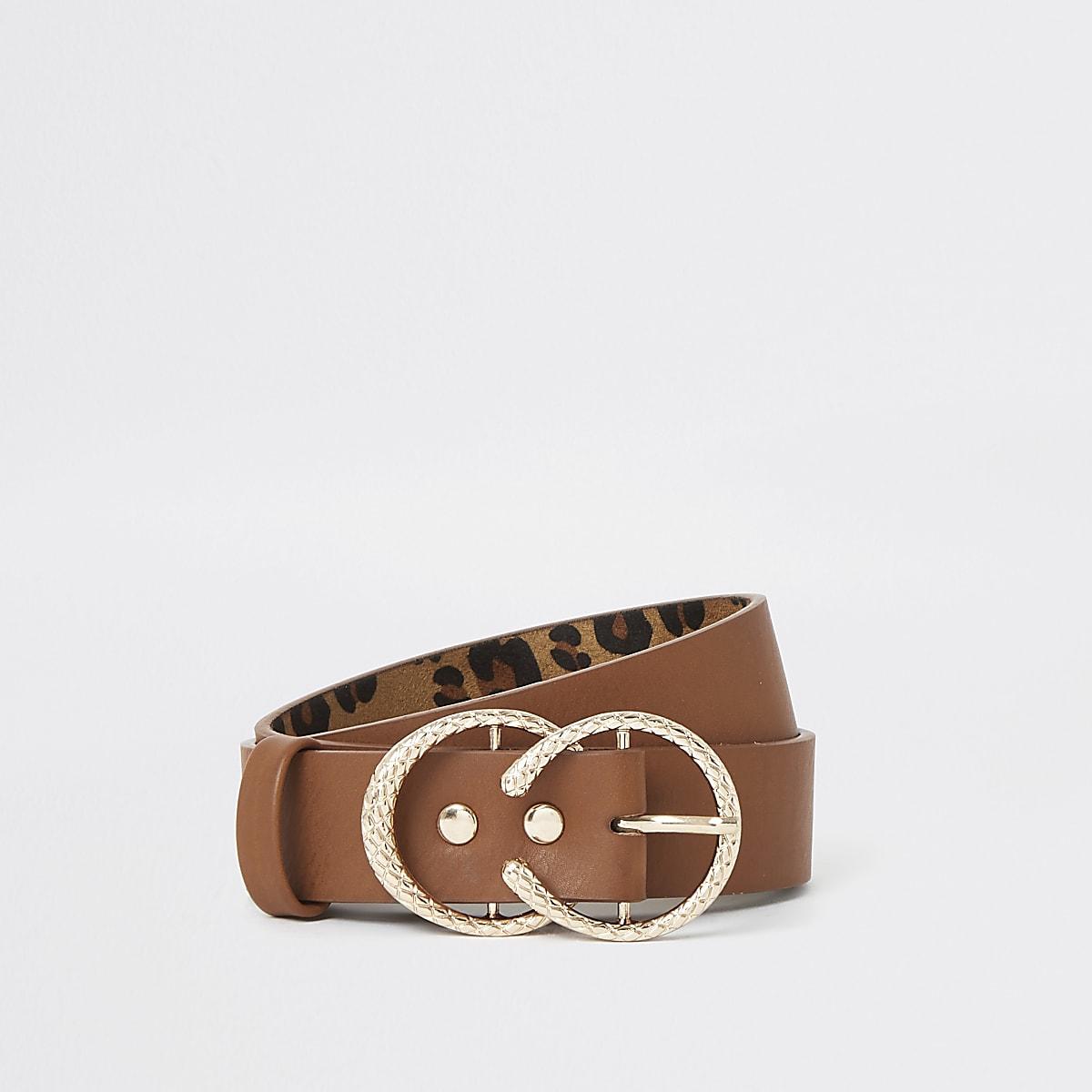 Bruine riem met twee ronde ringen voor meisjes