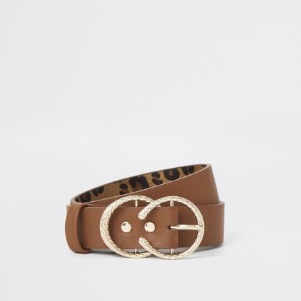 Girls tan circle double ring belt