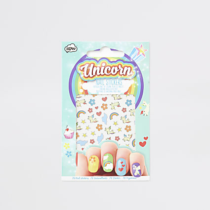 Girls blue unicorn nail stickers