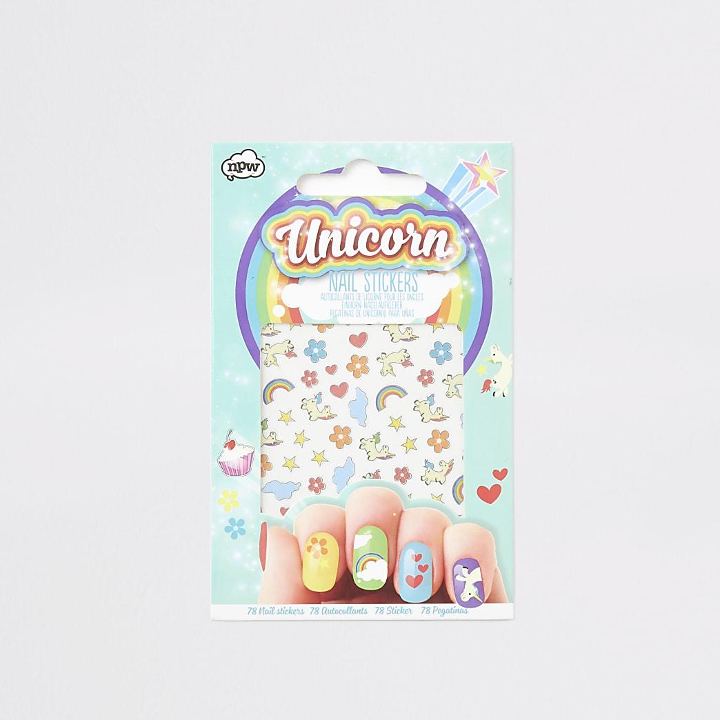 Girls blue unicorn nail stickers