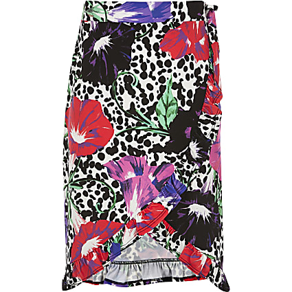 Girls white floral wrap midi skirt