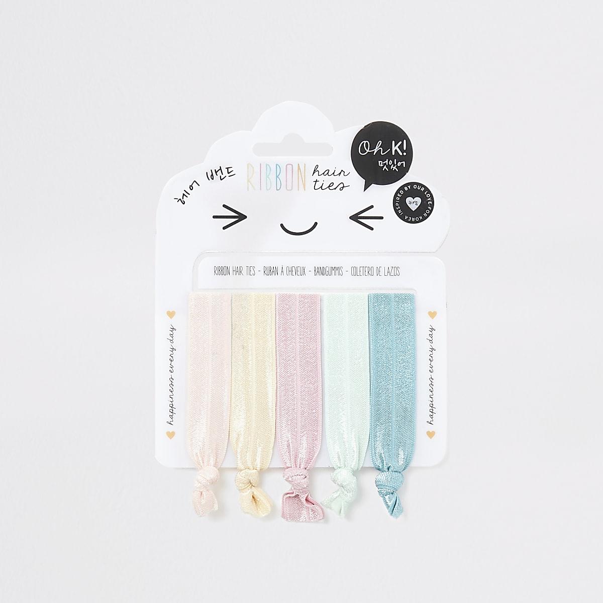 Girls pink ribbon hair tie multipack