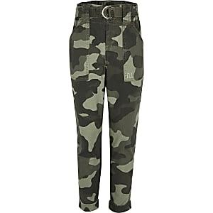 Pantalon fonctionnel motif camouflage kaki pour fille