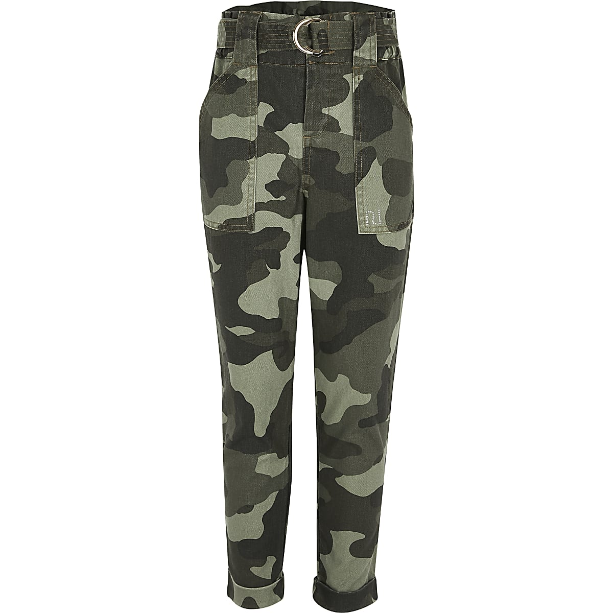 Girls khaki camo utility trousers