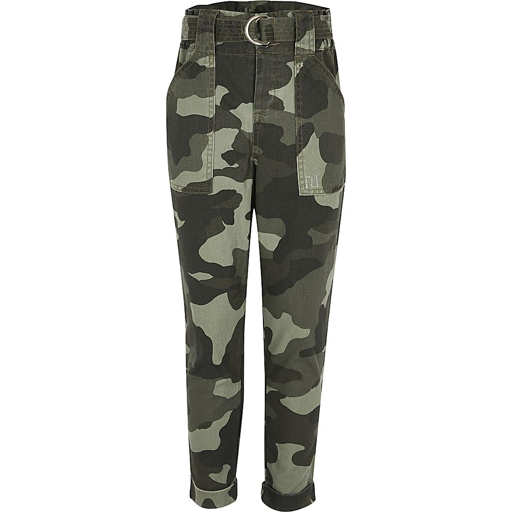 Girls khaki camo utility trousers